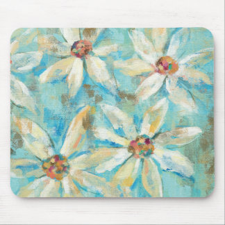 White Daisies on Blue Mouse Pad