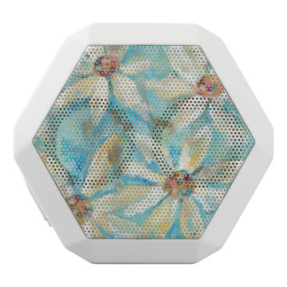 White Daisies on Blue White Bluetooth Speaker