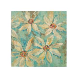 White Daisies on Blue Wood Print
