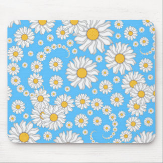 White Daisies on Bright Blue Background Mouse Pad