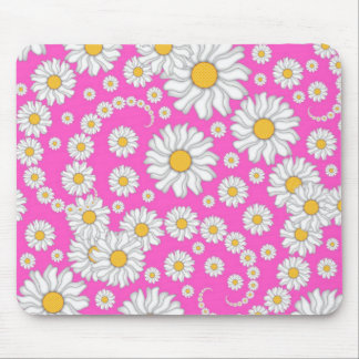 White Daisies on Bright Pink Background Mouse Pads