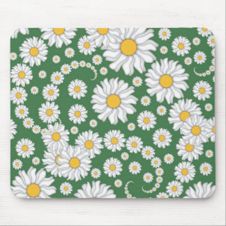 White Daisies on Green Background Mousepads