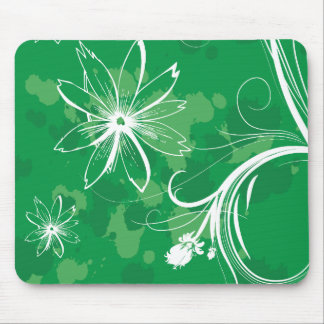 White Daisies on Green Mousepads