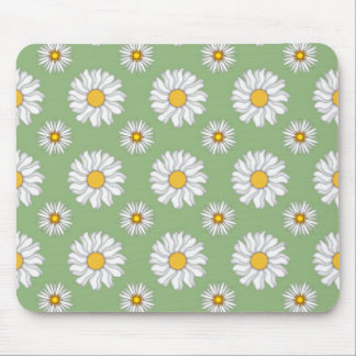 White Daisies on Green Pattern Mouse Pad