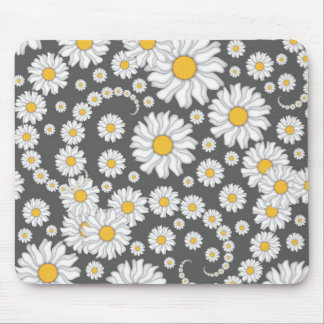 White Daisies on Grey Background Mouse Pad