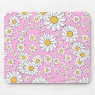 White Daisies on Pale Pink Background Mouse Pad