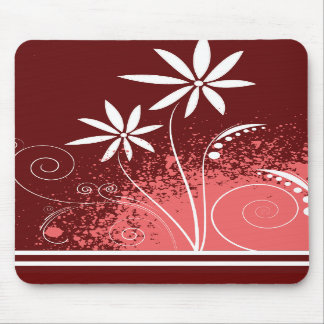 White Daisies on Pink and Red Mouse Pads
