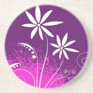 White Daisies on Purple Beverage Coasters