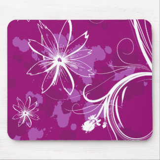 White Daisies on Purple Mouse Pads