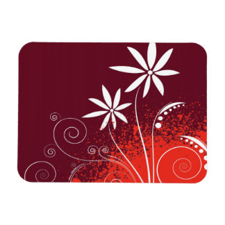 White Daisies on Red and Orange Flexible Magnet