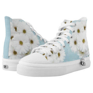White Daisies over Teal HT Wedding Sneakers