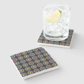 White daisies pattern stone beverage coaster