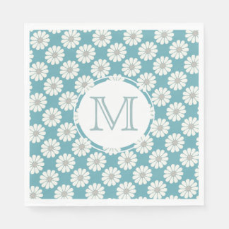 White Daisies patterns customize initials Disposable Napkins