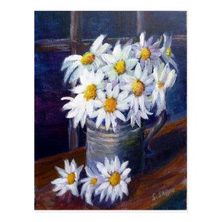 White daisies postcard