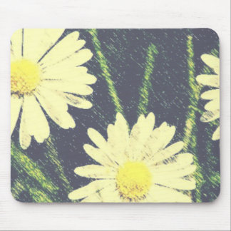 White Daisies Three Green Yellow Bloom Pastel Mouse Pad