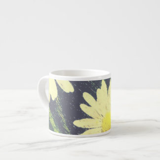 White Daisies Three Green Yellow Bloom Pastel Espresso Cup