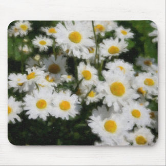 White Daisies Watercolor Mouse Pad