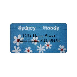 White Daisy Address Label