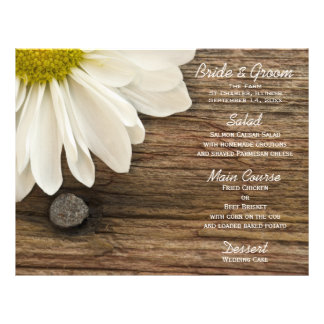 "White Daisy and Barn Wood Country Wedding 8.5"" X 11"" Flyer"