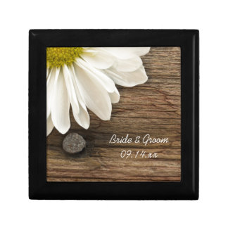 White Daisy and Barn Wood Country Wedding Gift Box