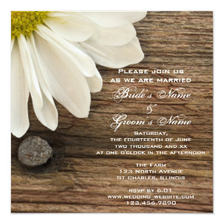 White Daisy and Barn Wood Country Wedding 5.25x5.25 Square Paper Invitation Card