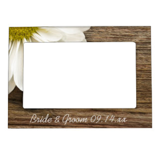 White Daisy and Barn Wood Country Wedding Magnetic Photo Frames