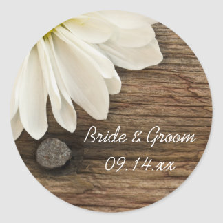 White Daisy and Barn Wood Country Wedding Round Sticker