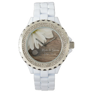 White Daisy and Barn Wood Country Wedding Watch
