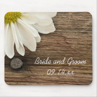 White Daisy and Barn Wood Wedding Mouse Pad