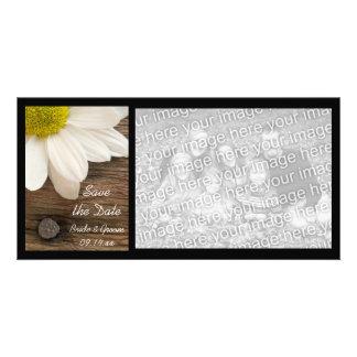 White Daisy and Barn Wood Wedding Save the Date Custom Photo Card