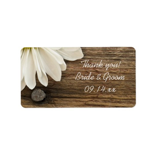 White Daisy and Barn Wood Wedding Thank You Favour Label