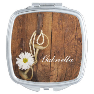 White Daisy and Horse Bit Country Western Wedding Travel Mirror