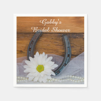 White Daisy and Horseshoe Country Bridal Shower Paper Napkins