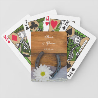 White Daisy and Horseshoe Country Western Wedding Bicycle Playing Cards