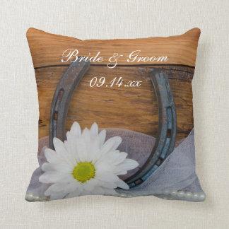 White Daisy and Horseshoe Country Western Wedding Cushion