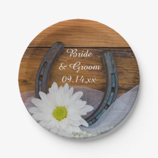 White Daisy and Horseshoe Country Western Wedding Paper Plate