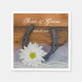 White Daisy and Horseshoe Country Western Wedding Paper Serviettes