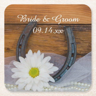 White Daisy and Horseshoe Country Western Wedding Square Paper Coaster