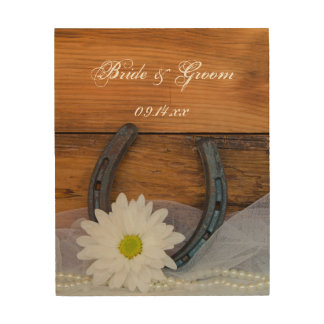 White Daisy and Horseshoe Country Western Wedding Wood Print