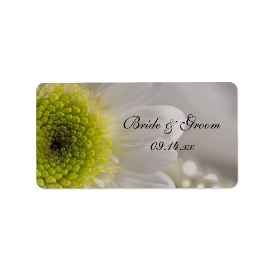 White Daisy and Pearls Wedding Favour Tag Address Label