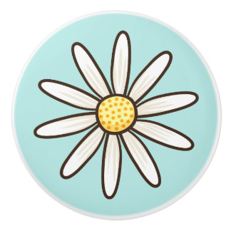 White daisy aqua blue ceramic knob