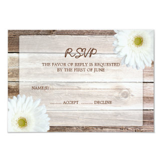 White Daisy Barn Wood Wedding RSVP Response Card 9 Cm X 13 Cm Invitation Card