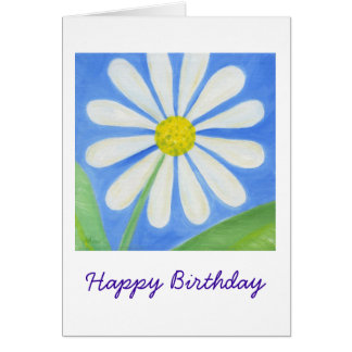 White Daisy Birthday Card