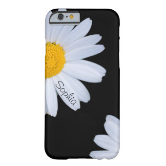 White Daisy Black Custom Name Barely There iPhone 6 Case