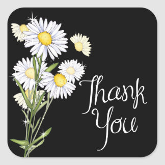 White Daisy Black Thank You Sticker / Seal