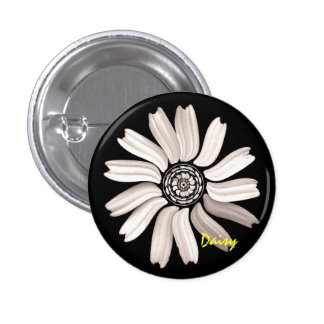 White Daisy Button/Pin 3 Cm Round Badge