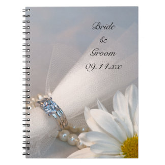 White Daisy Elegance Wedding Spiral Note Books