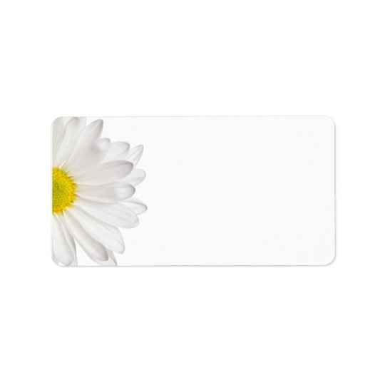 White Daisy Flower Background Customised Daisies Address Label