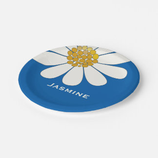 White daisy flower customize name paper plate