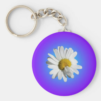 White Daisy Flower Floral Purple Blue Gradient Basic Round Button Key Ring